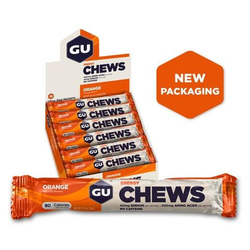 GU Energy Chews Case of 18 Orange