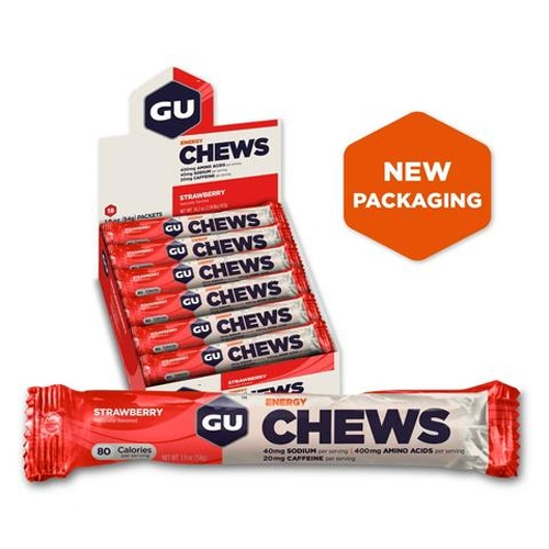 GU Energy Chews Case of 18 Strawberry