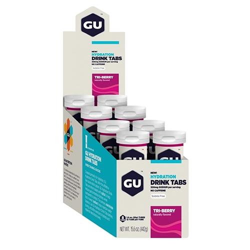 Gu Hydration Drink Tabs Tri Berry Box of 8 Tubes - GU Style # 274 S20