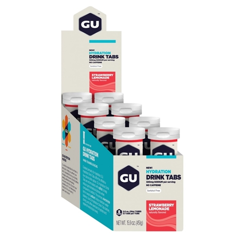 Gu Hydration Drink Tabs Strawberry Lemon Box of 8 Tube