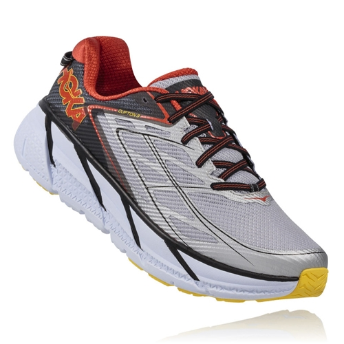 Hoka Clifton 3 Men's Grey/Orange Flash - Hoka Style # 1012046.GOFL F16 A