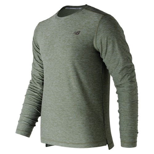 NB Space Dye L/S Tee Men's Dark Green Heathered