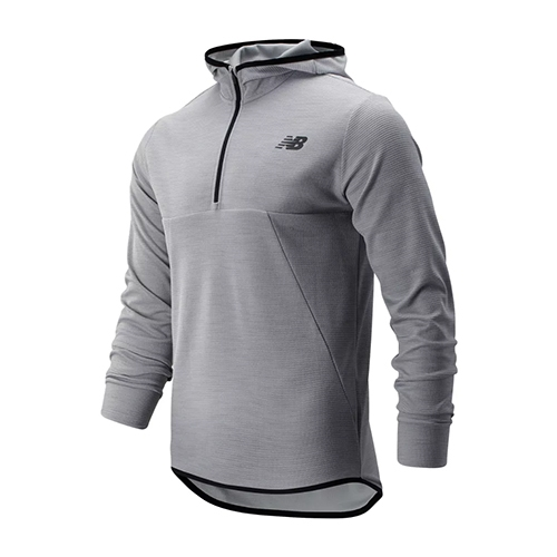 NB Tenacity Hooded Qtr Zip Mens Athletic Grey