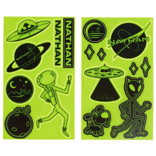 Nathan Reflective Sticker Pack Hi-Viz Yellow/Aliens