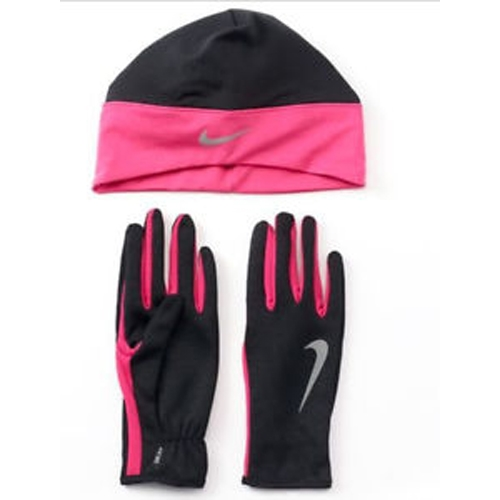 35b2bdbbf Nike Run Thermal Beanie/Glove Women's Black/Vivid Pink - Running ...