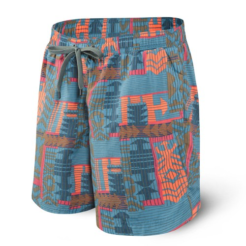 "SAXX Cannonball 2In1 7"" Trunks Men's Grey Patchwork"