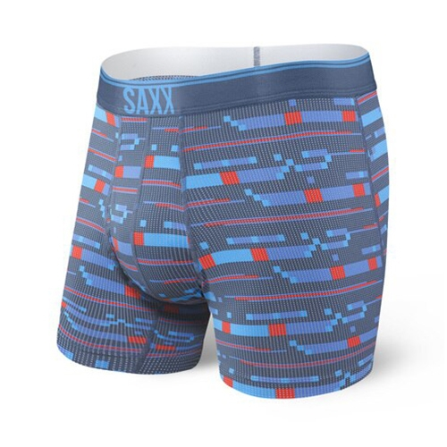 "SAXX Quest 5"" Boxer Brief Fly Men's Blue Assembly Stripe"