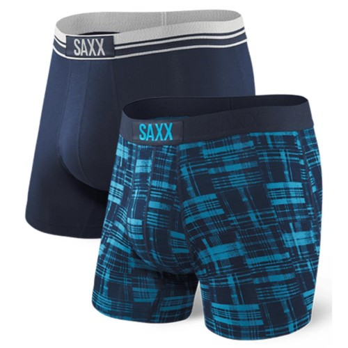 "SAXX Vibe 5"" Boxer Brief (2PK) Men's Plaid"