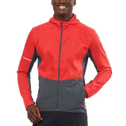 Salomon Agile FZ Hoodie Men's Goji Berry/Ebony