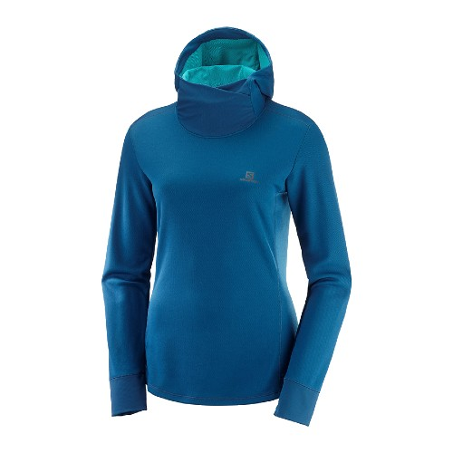 Salomon Agile LS Hoodie Women's Poseidon/Heather