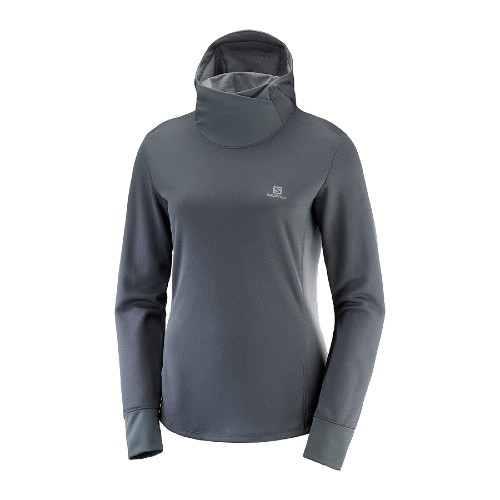Salomon Agile LS Hoodie Women's Ebony/Heather