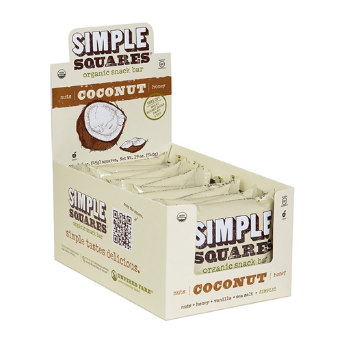 Simple Squares Box of 12 Organic Bar Cocconut 45g/Bar