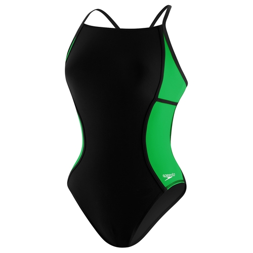 Speedo Sprint Splice Free Back Women's Black/Green - Speedo Style # 8191437-283 SC16
