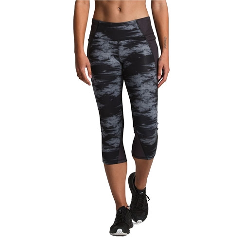 TNF Ambition Mid-Rise Crop Women's TNF Black Nebula Print - The North Face Style # NF0A3O1W.9TP S19