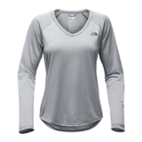 TNF L/S Reaxion Amp Tee Women's TNF Medium Grey/HTHR