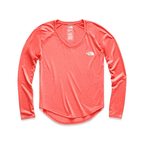 TNF L/S Reaxion Amp Tee Women's Spiced Coral Haether