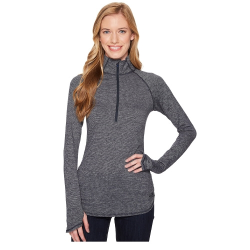 TNF Motivation Stripe 1/2 Zip Women's TNF Black Micro Stripe