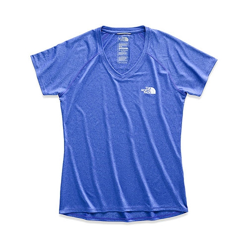 TNF S/S Graphic Reaxion Amp V Women's Dazzling Blue Heather - The North Face Style # NF0A351A.B59 S19
