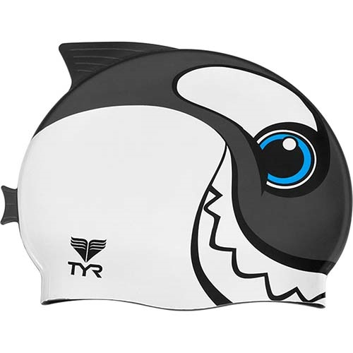 TYR Happy Whale Swim Cap Kids Black/White