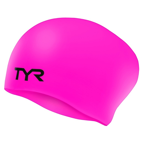 TYR LongHair Silicone Swim Cap Wrinkle Free - Pink - TYR Style # LCSL 693 S18