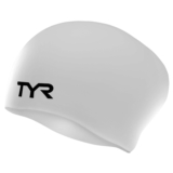 TYR LongHair Silicone Swim Cap Wrinkle Free - White