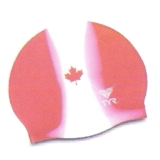 TYR Silicone Canada Swim Cap Wrinkle Free - Red/White