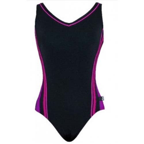 TYR Solids V-Neck Clip Back Women's Black/Uv/Pink/Game - TYR Style # TVVN7.084 S19