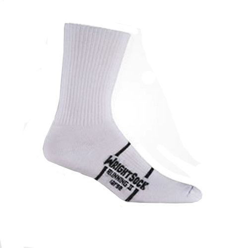Wrightsock Running II Crew Unisex White Double Layer Sock